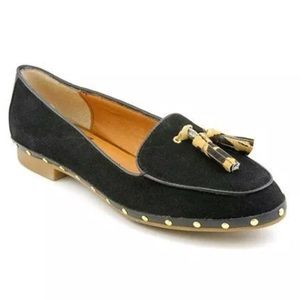 Dolce Vita Molly Black Leather Loafers Calf Hair
